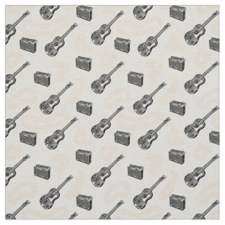 Music Guitar Radio Pattern Custom Linen Fabric