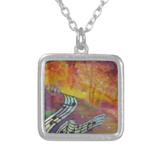 Music have strange connection to nature. silver plated necklace