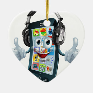 Music headphones phone ceramic ornament