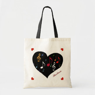 music heart for her personalized tote bag