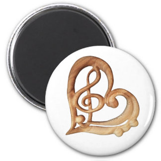 Music Heart, Treble Bass Clefs in Heart Magnet