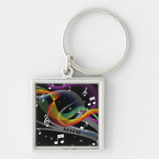 Music Illustration custom monogram key chains
