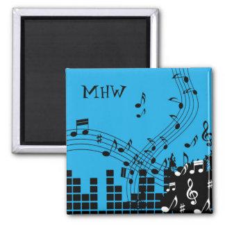 Music Illustration custom monogram magnet