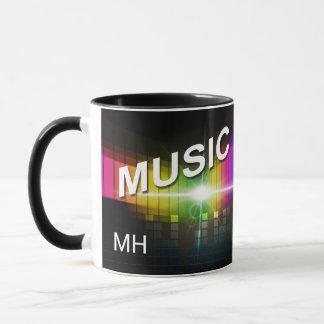 Music Illustration custom monogram mugs