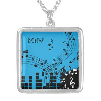 Music Illustration custom monogram necklace