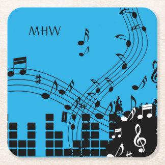 Music Illustration custom monogram paper coasters
