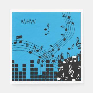 Music Illustration custom monogram paper napkins