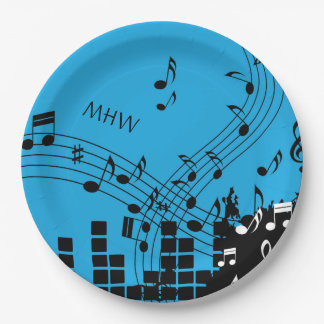 Music Illustration custom monogram paper plates