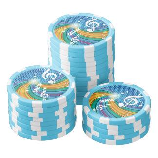 Music Illustration custom monogram poker chips