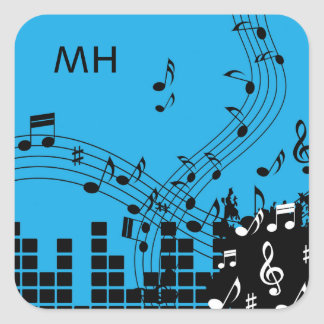 Music Illustration custom monogram stickers