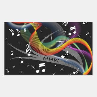 Music Illustration custom monogram stickers
