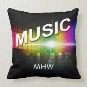 Music Illustration custom monogram throw pillows