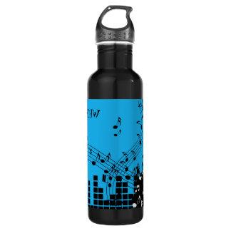 Music Illustration custom monogram water bottles