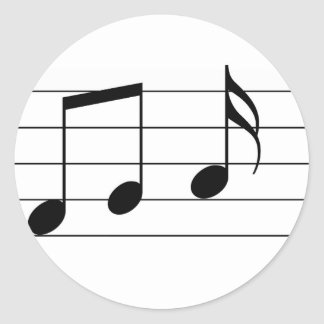 Music illustration. Eighth and sixteenth notes. Classic Round Sticker