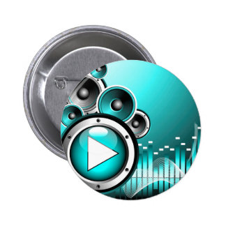 music illustration with play button and speakers