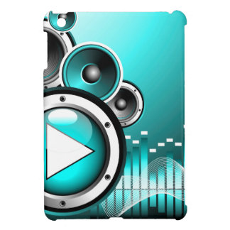 music illustration with play button and speakers iPad mini cover