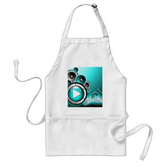 music illustration with play button and speakers standard apron