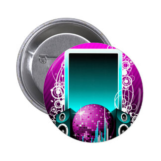 music illustration with speaker and design element 2 inch round button