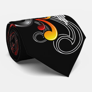music illustration with speaker and design element tie