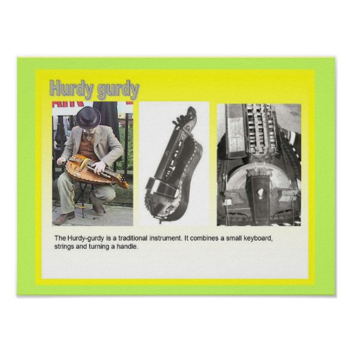 "Music, instruments, ""Hurdy Gurdy"" player Poster"