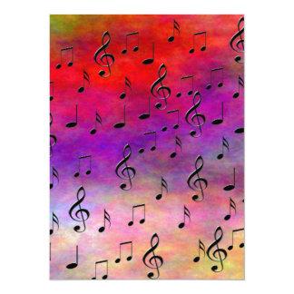 "Music  Instruments  notes dance tunes radio keys 5.5"" X 7.5"" Invitation Card"