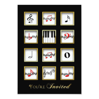Music Invitation -  Notes/Keyboard