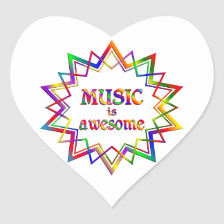 Music is Awesome Heart Sticker