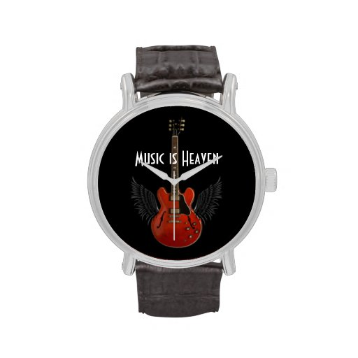 Music is Haven Men's Wristwatch w/ Leather Band