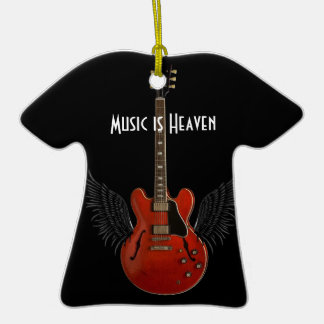 Music is Heaven T-shirt Shaped Christmas Ornament