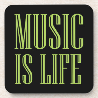 """""""Music Is Life"""" Black And Green Coaster"""