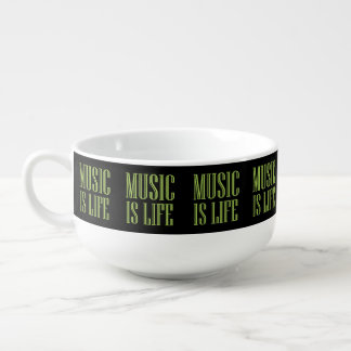 """Music Is Life"" Black And Green Soup Mug"