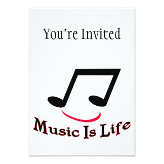 "Music Is Life Musical Note Smiley 5"" X 7"" Invitation Card"