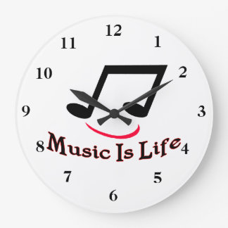 Music Is Life Musical Note Smiley Large Clock