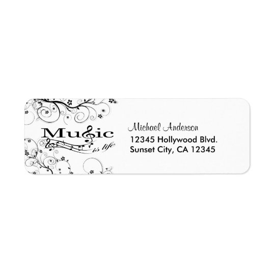 Music is Life Return Address Label