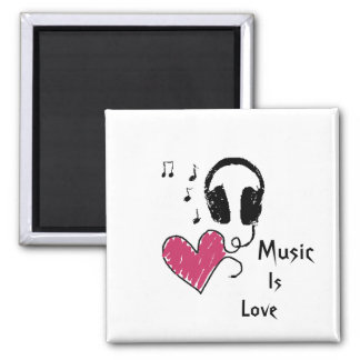 Music is Love Square Magnet