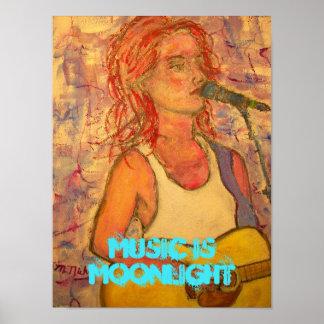 music is moonlight art poster