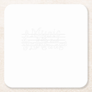 Music Is My 2nd Language Awesome Music Lovers Gift Square Paper Coaster