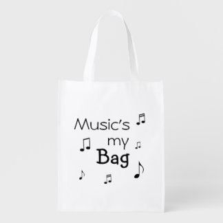 Music is my Bag funny pun Grocery Bags