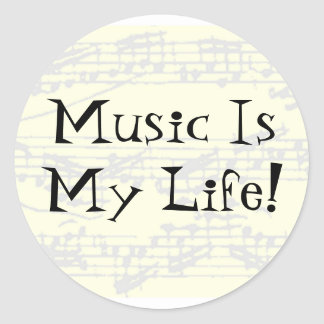 Music Is My Life Classic Round Sticker