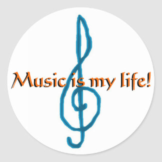 Music is my life! classic round sticker