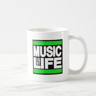 Music is My Life Green Classic White Coffee Mug