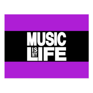 Music is My Life Purple Postcard