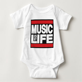 Music is my life Red Baby Bodysuit