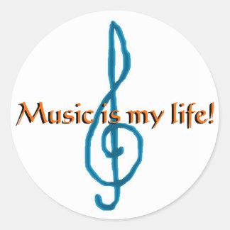 Music is my life! round sticker