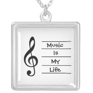 Music Is My Life Silver Plated Necklace