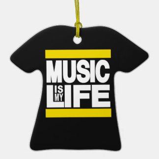Music is My Life Yellow Ornaments
