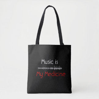 Music is My Medicine Black Sound wave/Notes Bag