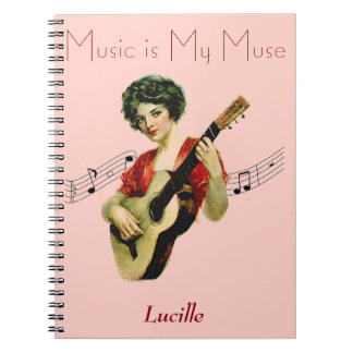 Music is My Muse Vintage Artwork: Personalized Notebook