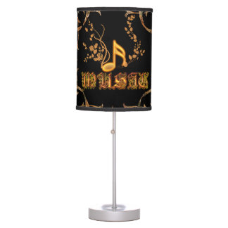Music, key notes on vintage background table lamp