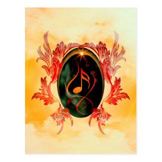 Music, key notes with elegant, decorative damasks postcards